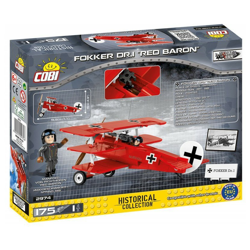 Cobi 2974 Great War Fokker Dr.I RED BARON, 175 k, 1 f